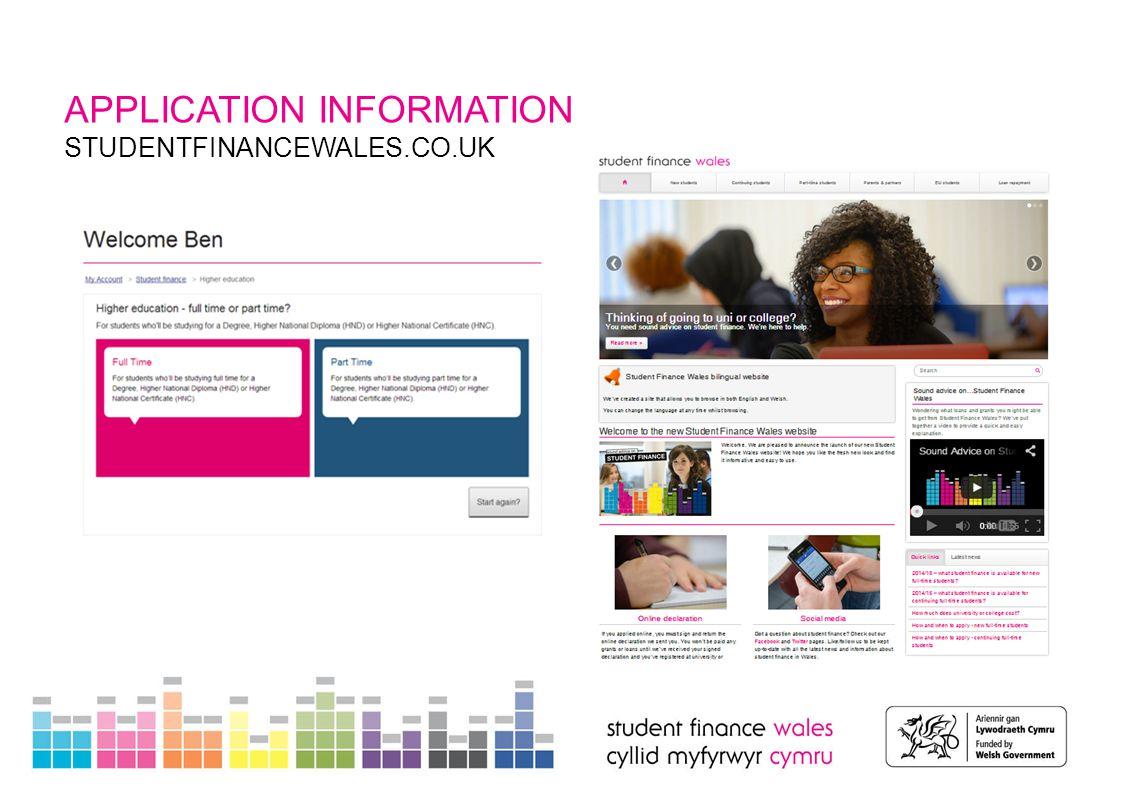 APPLICATION INFORMATION STUDENTFINANCEWALES.CO.UK