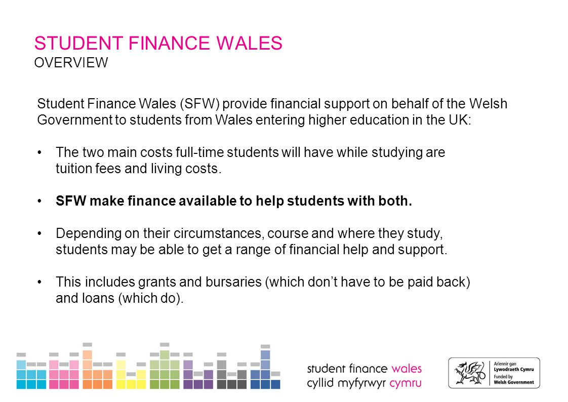 OVERVIEW Student Finance Wales (SFW) provide financial support on behalf of the Welsh Government to students from Wales entering higher education in t