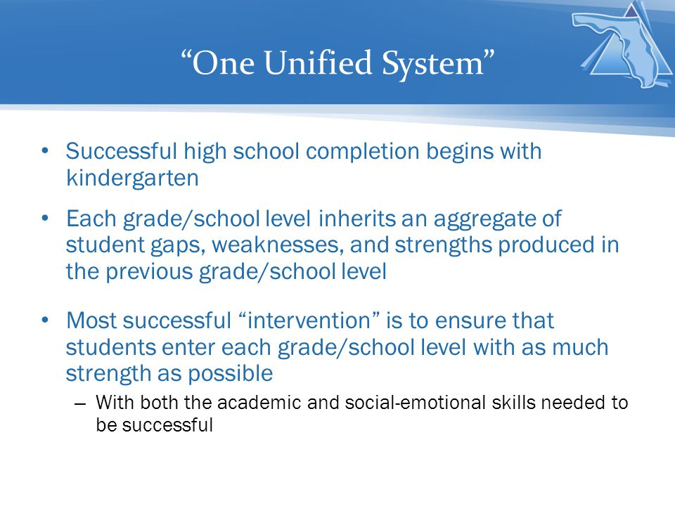One Unified System Vertical Programming—articulation K-12- is the most effective way of ensuring that students graduate from the system as full-option graduates An agreed upon method of vertical communication of student data/needs—that leads to vertical programming– is critical All grades/school levels need to know student needs prior to their entry—preferably months ahead of time – The best screening tool is the compilation of student historical data – This becomes more evident as students move beyond elementary school