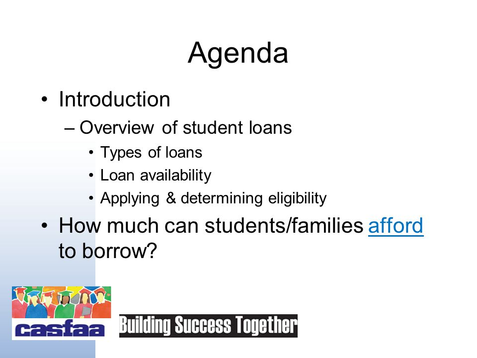 Welcome to Student Loans 101 California Association of Student Financial Aid Administrators Saturday, December 12, 2009