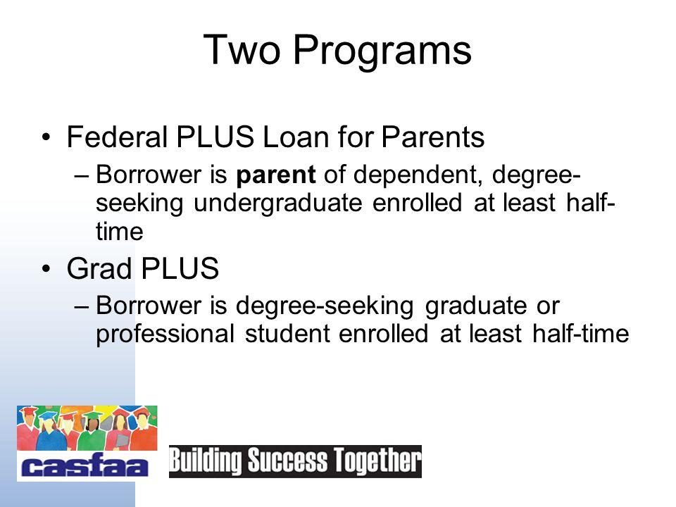 PLUS Basics FFEL Interest Rate 8.5% Direct Loan Interest Rate 7.9% Credit-based loan Repayment begins 60 days after last disbursement –Graduate studen