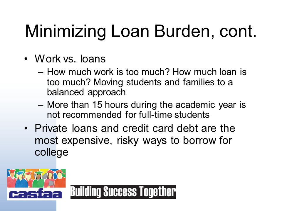 Minimizing Loan Burden Never borrow more than needed Budget carefully: the cost of attendance can be reduced Consider working more during summer months or school year, but do not over- commit