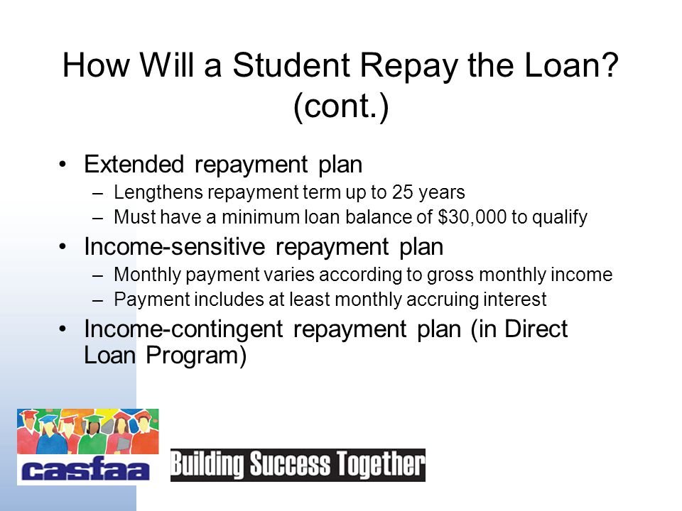 How Will a Student Repay the Loan? Standard repayment plan –Lowest total interest costs over life of the loan –Ten-year repayment term Graduated repay