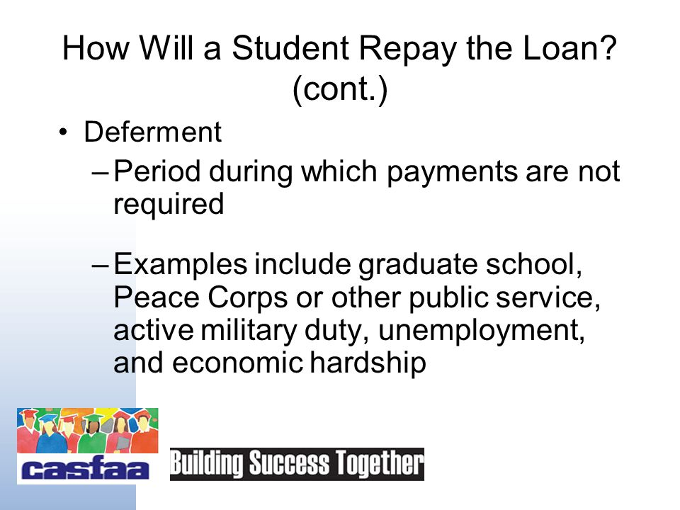 How Will a Student Repay the Loan? (cont.) Consolidation –Combine multiple loans into one convenient payment –Consolidation done mostly through the U.