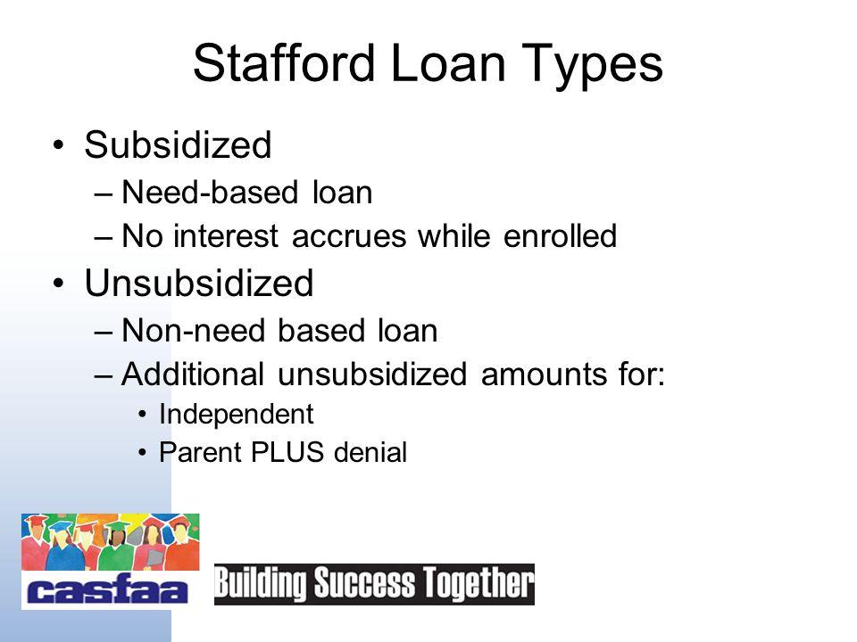 Types of Programs William D Ford Direct Loan Program (Direct Loans) Family Federal Education Loan Program (FFEL Loans)