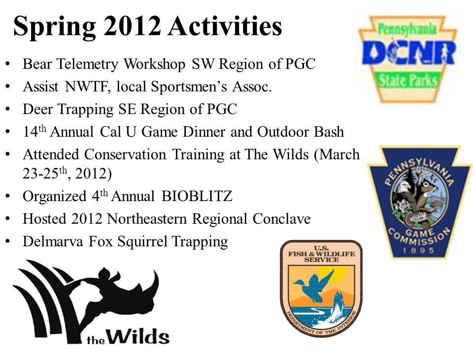 Spring 2012 Activities Bear Telemetry Workshop SW Region of PGC Assist NWTF, local Sportsmen's Assoc.