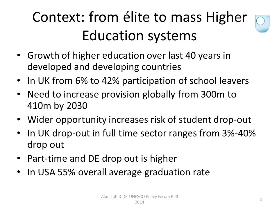 Drop out: combination of mission and risk University of Cambridge 3% drop out University of Bolton 40% drop out Open University: in first year 45% drop out and subsequently 35-40% drop out Computing part-time graduation rates.