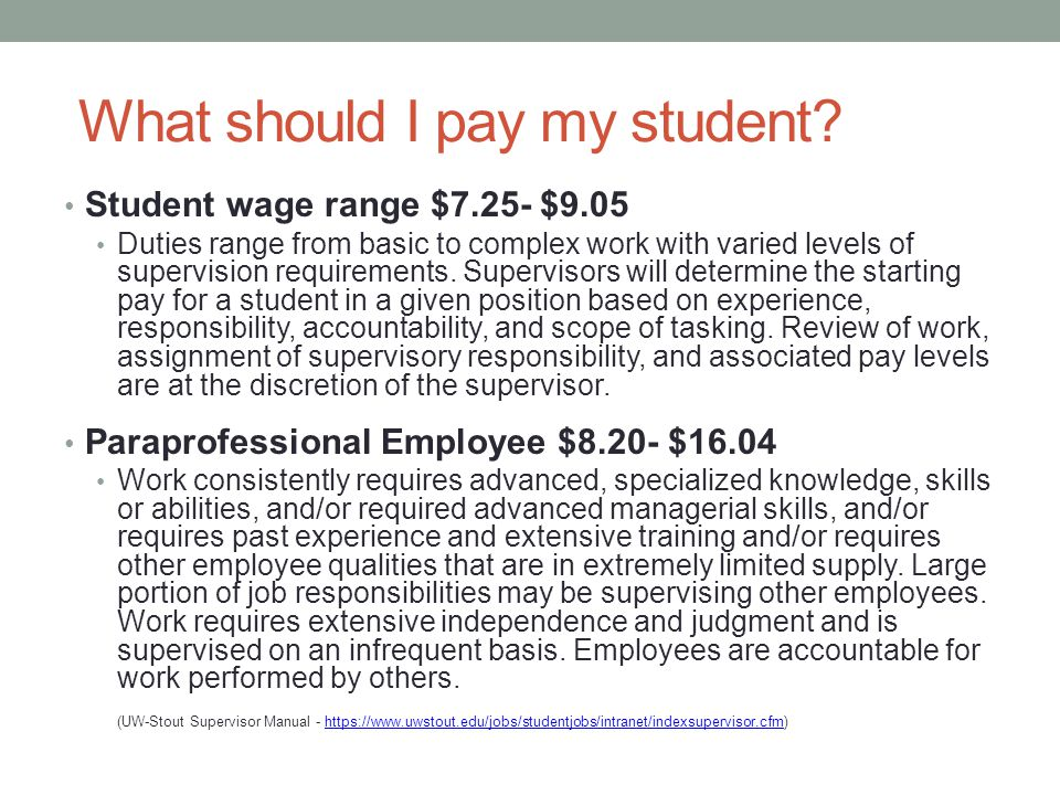 What should I pay my student.