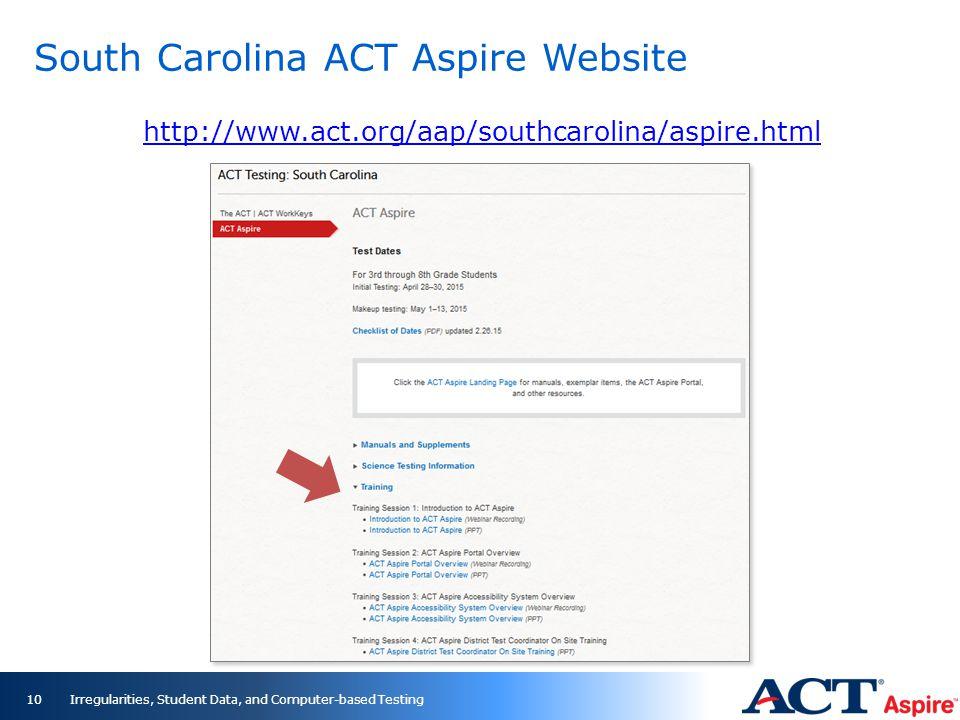 South Carolina ACT Aspire Website Irregularities, Student Data, and Computer-based Testing10 http://www.act.org/aap/southcarolina/aspire.html