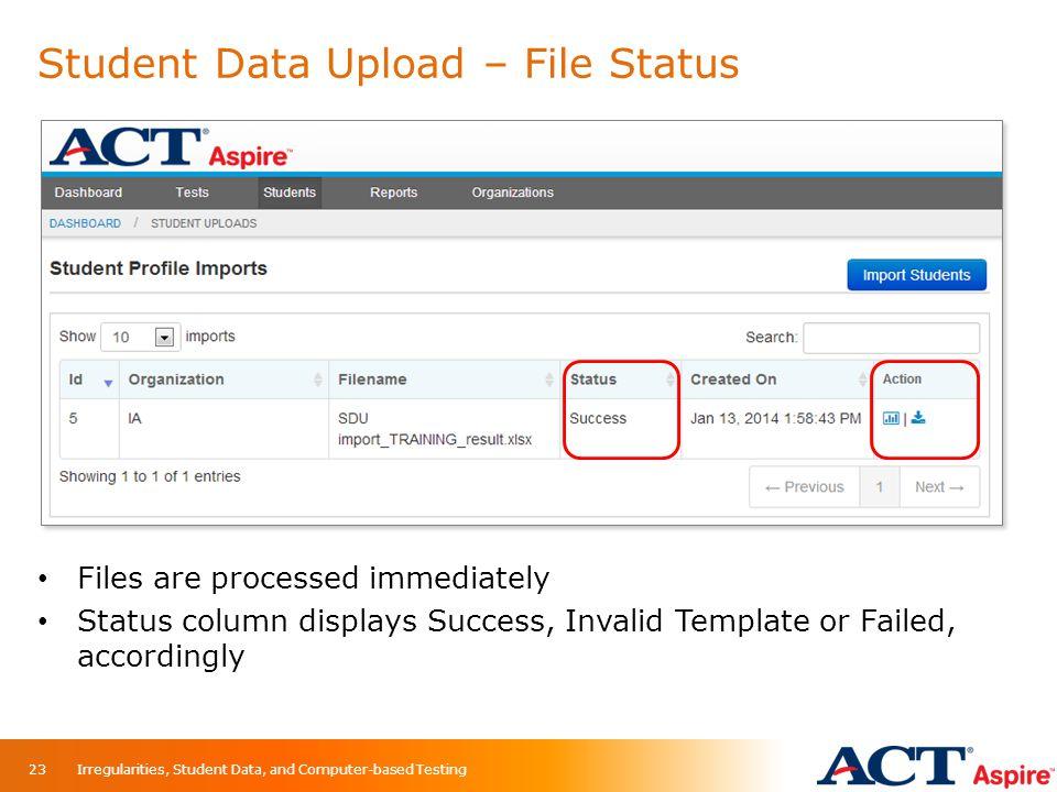 Student Data Upload – File Status 23 Files are processed immediately Status column displays Success, Invalid Template or Failed, accordingly Irregular