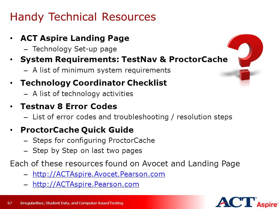 Handy Technical Resources ACT Aspire Landing Page – Technology Set-up page System Requirements: TestNav & ProctorCache – A list of minimum system requ