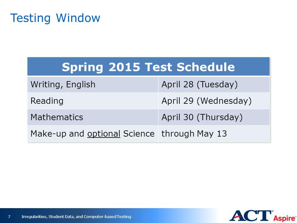 Testing Window 7Irregularities, Student Data, and Computer-based Testing