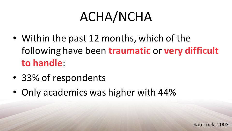 ACHA/NCHA Within the past 12 months, which of the following have been traumatic or very difficult to handle: 33% of respondents Only academics was higher with 44% Santrock, 2008