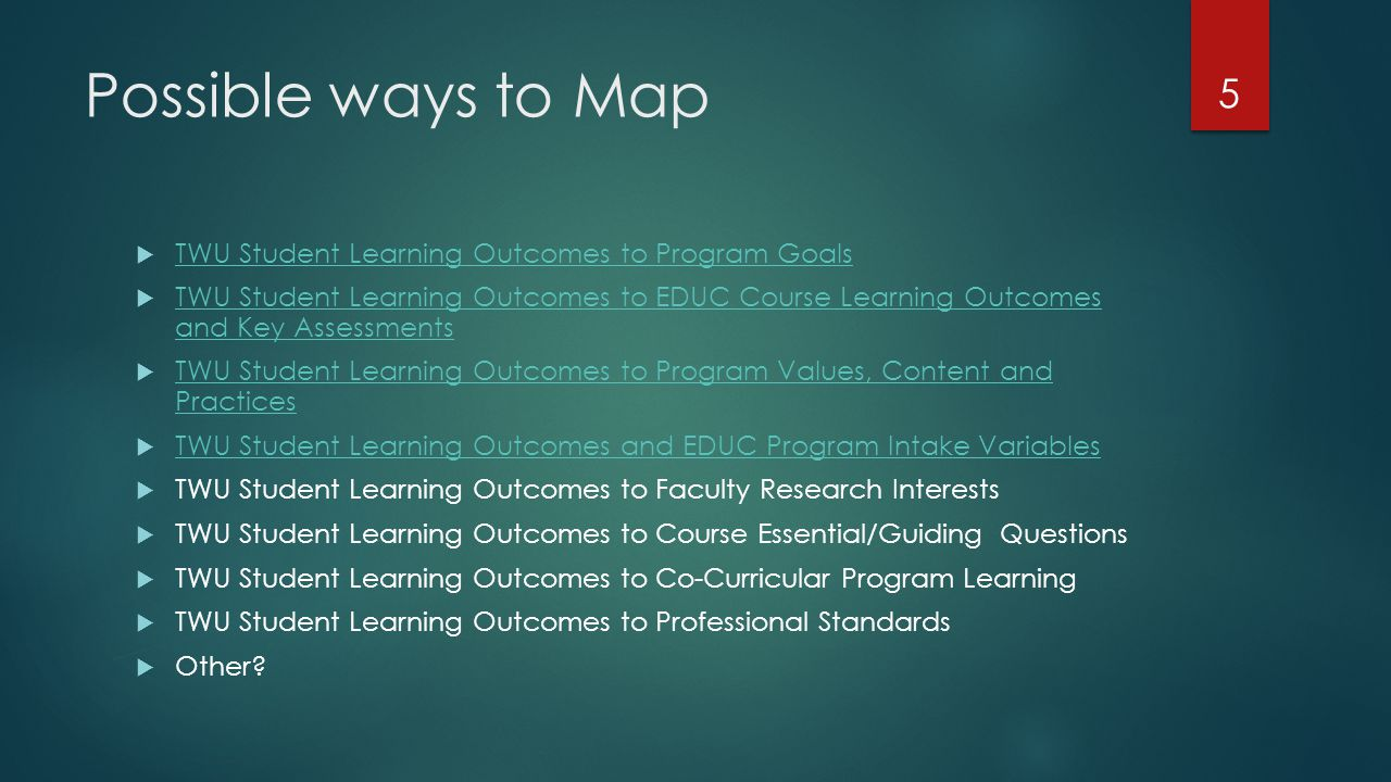 Your Mapping Opportunity  What is it that you want to know about your program in relation to TWU student learning outcomes.
