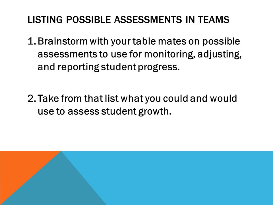 LISTING POSSIBLE ASSESSMENTS IN TEAMS 1.Brainstorm with your table mates on possible assessments to use for monitoring, adjusting, and reporting stude
