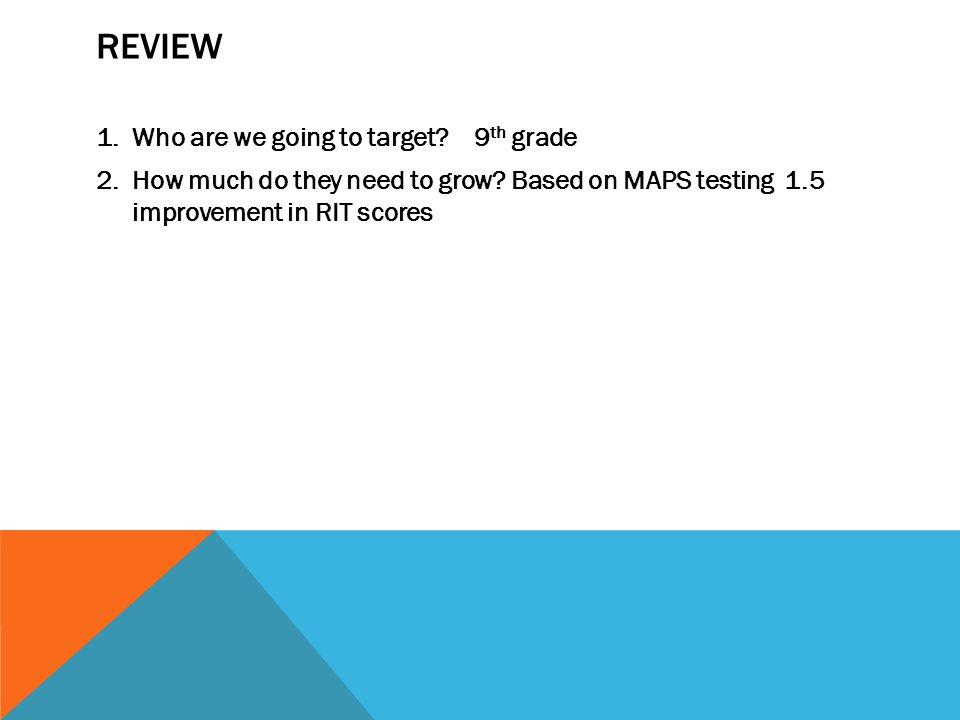 REVIEW 1.Who are we going to target? 9 th grade 2.How much do they need to grow? Based on MAPS testing 1.5 improvement in RIT scores