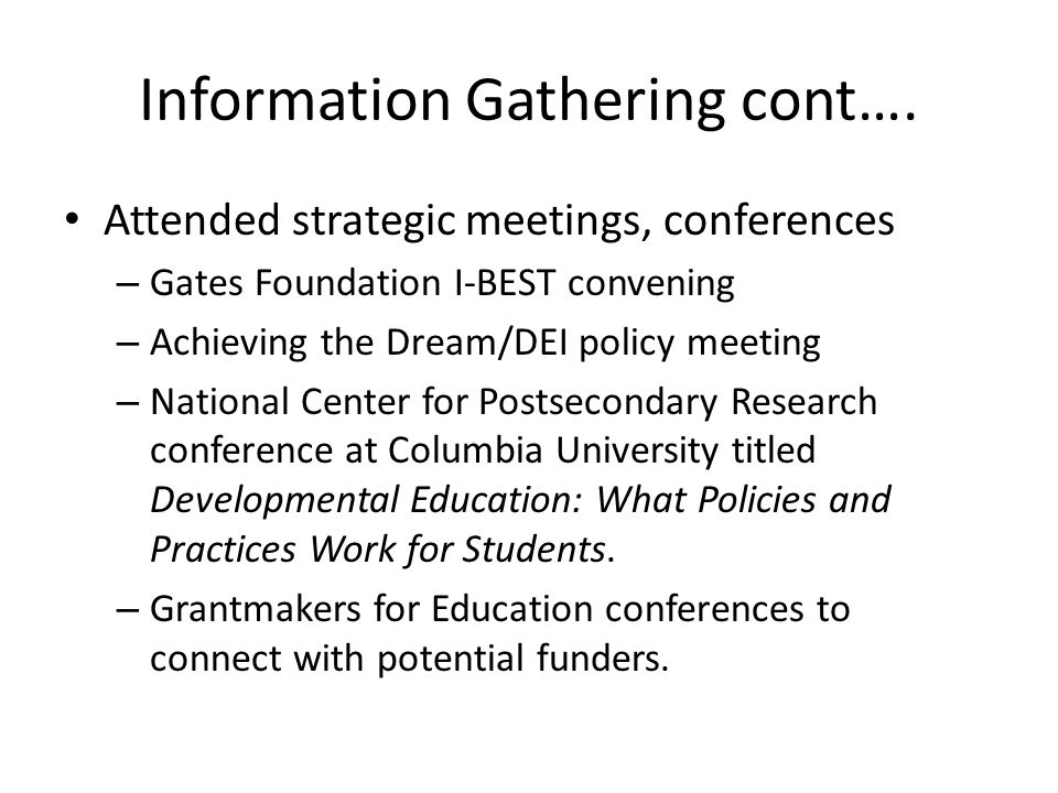 Information Gathering cont….