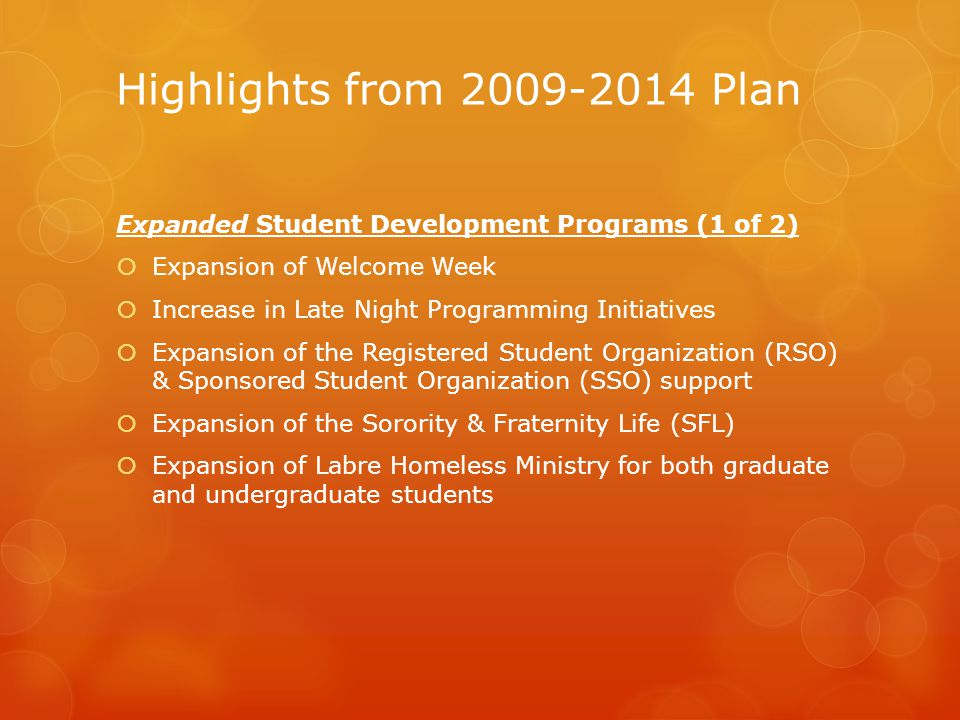 Highlights from 2009-2014 Plan Expanded Student Development Programs (2 of 2)  Expansion of faith-based retreats (almost 1500 students last year)  Participation in Alternative Break Immersion Trips has expanded  Aligned Learning Community themes with core courses to fully integrate the core curriculum with Learning Community Programs