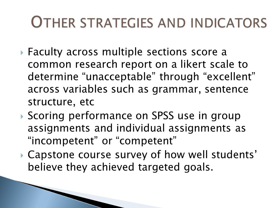  Faculty across multiple sections score a common research report on a likert scale to determine unacceptable through excellent across variables such as grammar, sentence structure, etc  Scoring performance on SPSS use in group assignments and individual assignments as incompetent or competent  Capstone course survey of how well students' believe they achieved targeted goals.