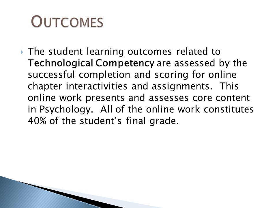  The student learning outcomes related to Technological Competency are assessed by the successful completion and scoring for online chapter interactivities and assignments.