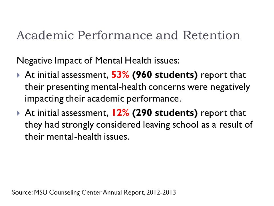 Academic Performance and Retention Negative Impact of Mental Health issues:  At initial assessment, 53% (960 students) report that their presenting mental-health concerns were negatively impacting their academic performance.