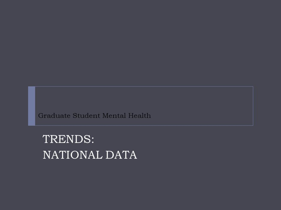 Graduate Student Mental Health TRENDS: NATIONAL DATA