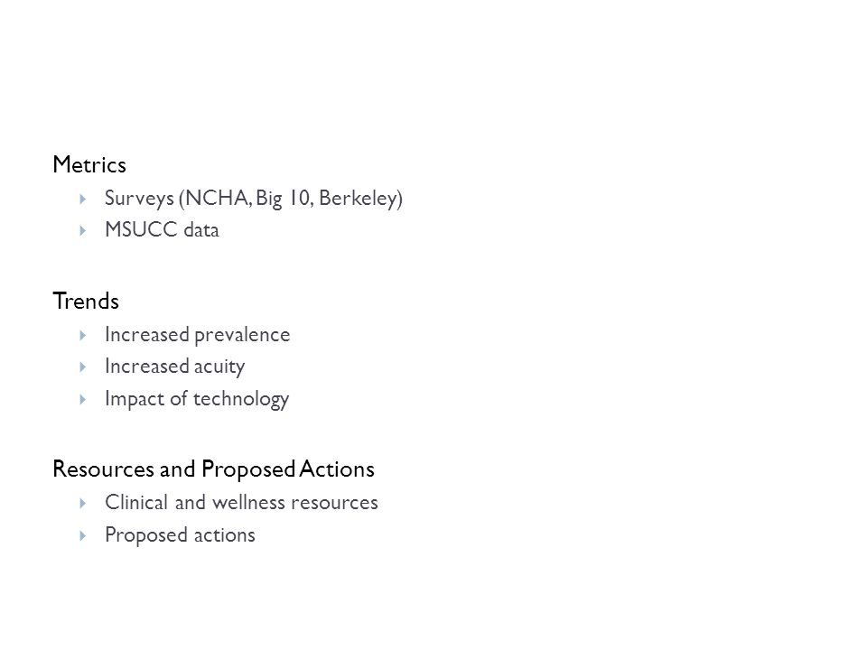 Metrics  Surveys (NCHA, Big 10, Berkeley)  MSUCC data Trends  Increased prevalence  Increased acuity  Impact of technology Resources and Proposed Actions  Clinical and wellness resources  Proposed actions