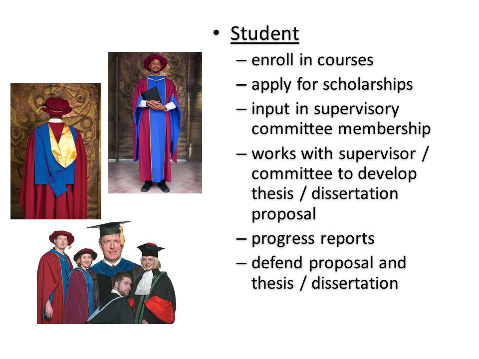 Student – enroll in courses – apply for scholarships – input in supervisory committee membership – works with supervisor / committee to develop thesis
