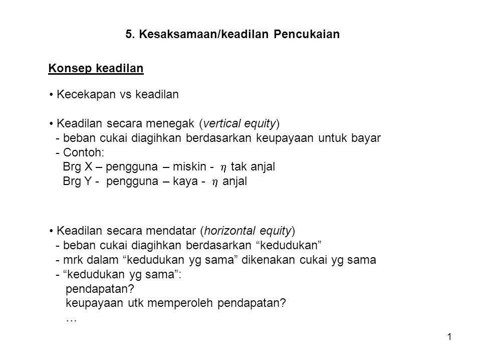 1 5. Kesaksamaan/keadilan Pencukaian Kecekapan vs keadilan Keadilan secara menegak (vertical equity) - beban cukai diagihkan berdasarkan keupayaan unt