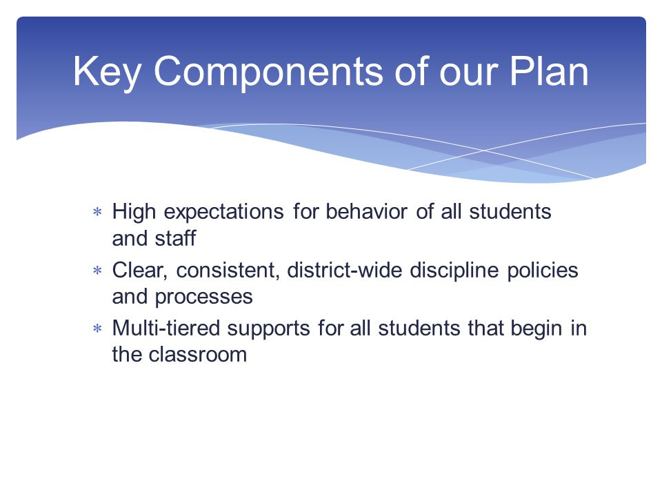  High expectations for behavior of all students and staff  Clear, consistent, district-wide discipline policies and processes  Multi-tiered supports for all students that begin in the classroom Key Components of our Plan