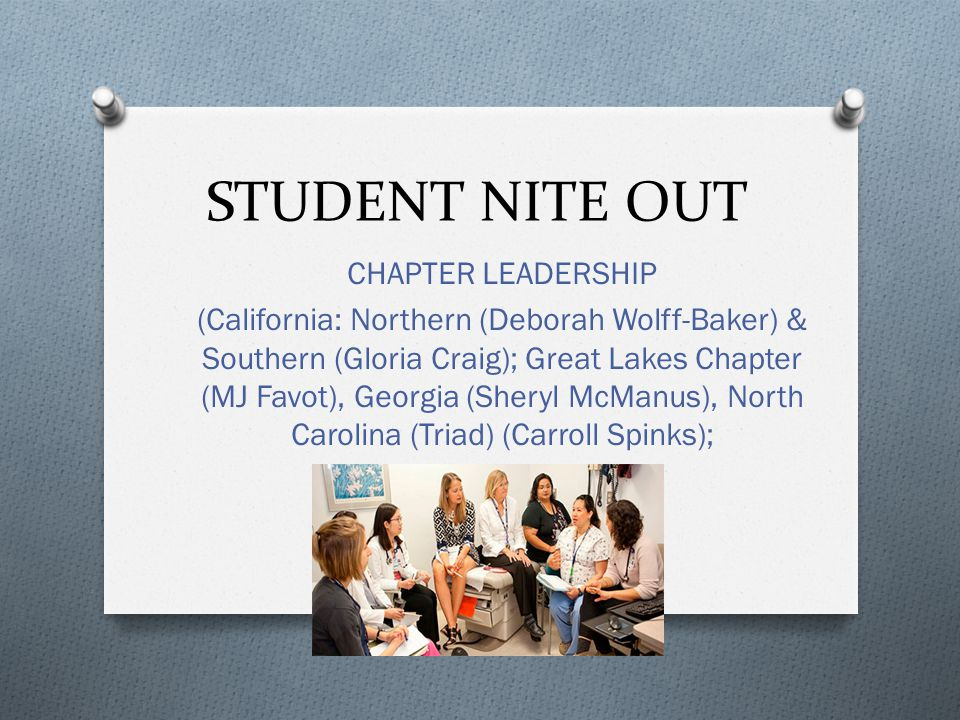 STUDENT NITE OUT CHAPTER LEADERSHIP (California: Northern (Deborah Wolff-Baker) & Southern (Gloria Craig); Great Lakes Chapter (MJ Favot), Georgia (Sheryl McManus), North Carolina (Triad) (Carroll Spinks);