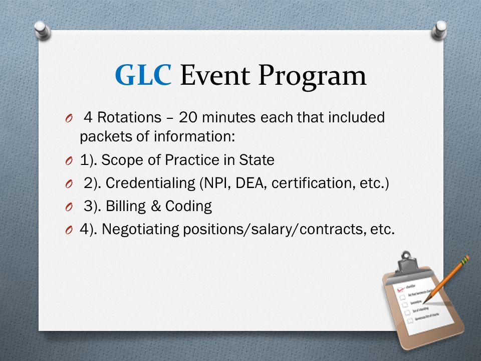 NCC Event Program O Welcome O Licensing and Certification handouts O Where to look for jobs (job market) O 10 questions to ask a potential collaborating MD O The GAPNA experience – an award winner spoke O Issues to consider in a house calls practice O CV and Mock Interviews O Importance of joining NP Organizations O Zettler Process Protocol Workbook for process protocol development.