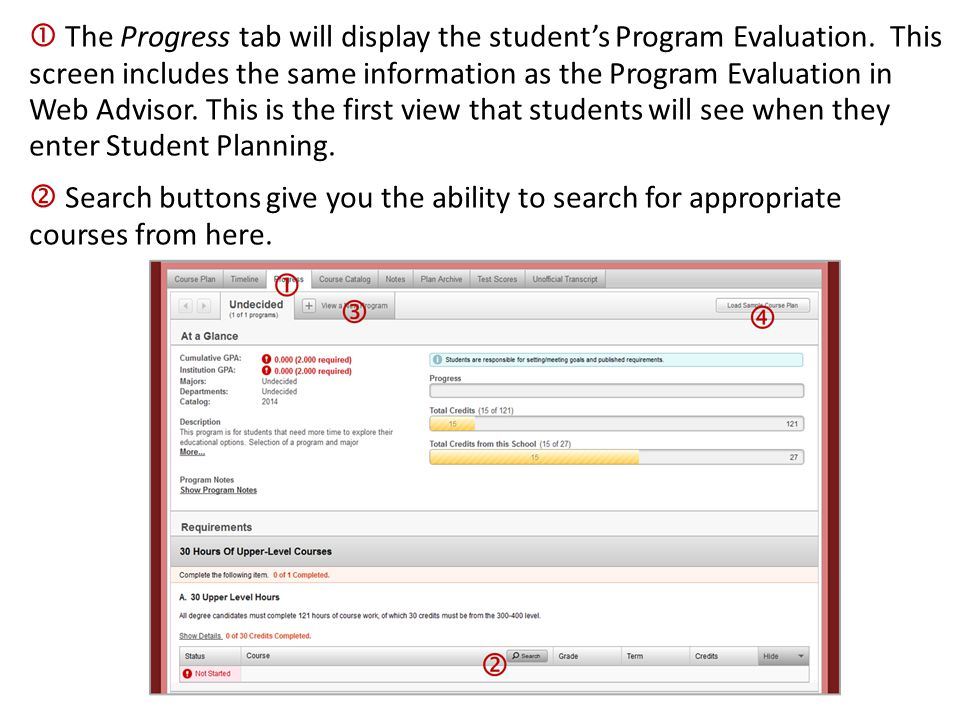  The Progress tab will display the student's Program Evaluation. This screen includes the same information as the Program Evaluation in Web Advisor.