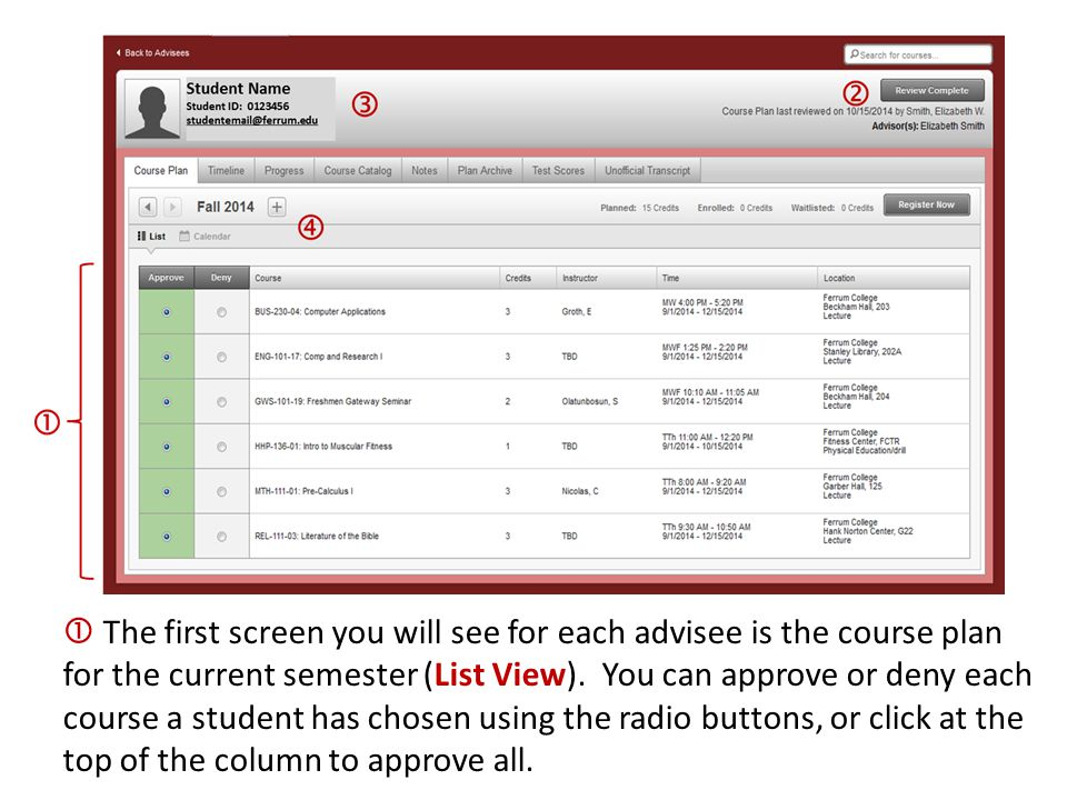  The first screen you will see for each advisee is the course plan for the current semester (List View). You can approve or deny each course a studen
