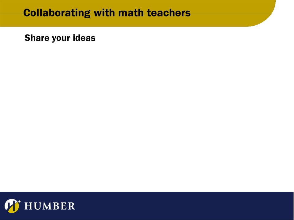 Collaborating with math teachers Share your ideas