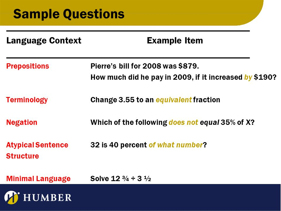 Sample Questions ____________________________________________________ Language ContextExample Item ____________________________________________________ PrepositionsPierre's bill for 2008 was $879.