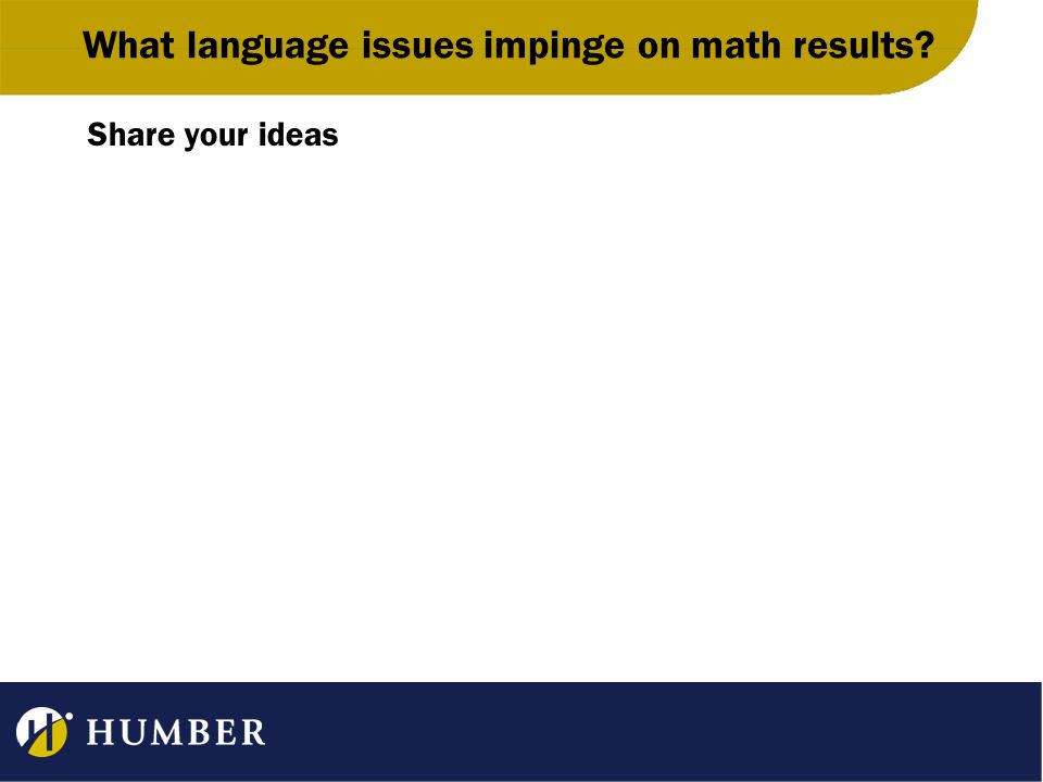 What language issues impinge on math results Share your ideas