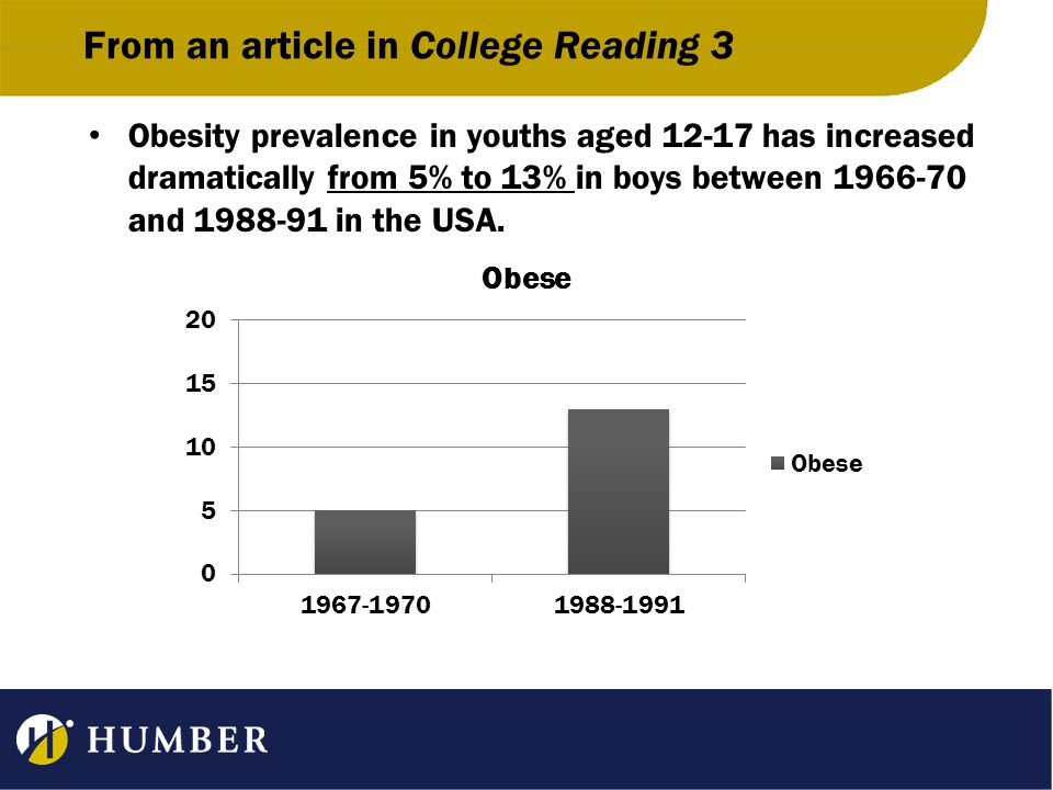 From an article in College Reading 3 In the late 60s, boys and girls experienced the same obesity rate, but since then obesity in girls rose by only 4 percentage points.