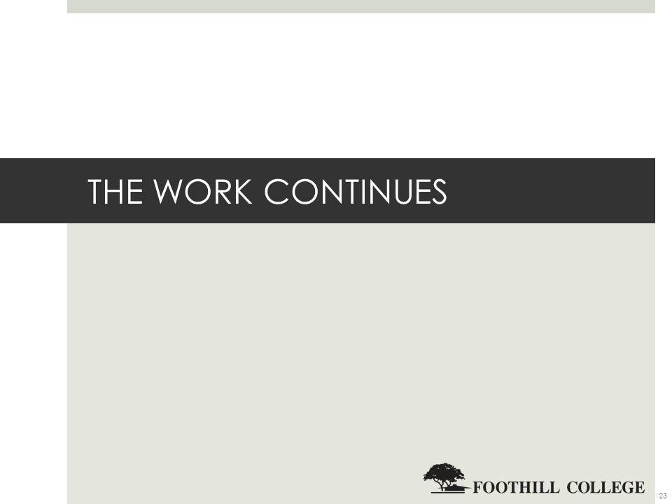 THE WORK CONTINUES 23