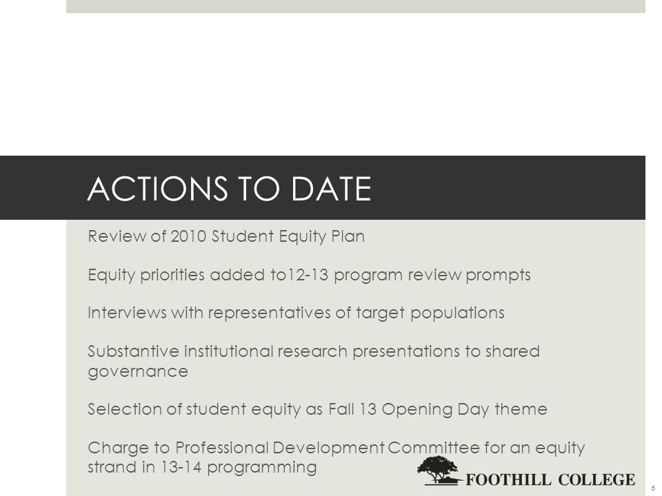 ACTIONS TO DATE Review of 2010 Student Equity Plan Equity priorities added to12-13 program review prompts Interviews with representatives of target populations Substantive institutional research presentations to shared governance Selection of student equity as Fall 13 Opening Day theme Charge to Professional Development Committee for an equity strand in programming 6