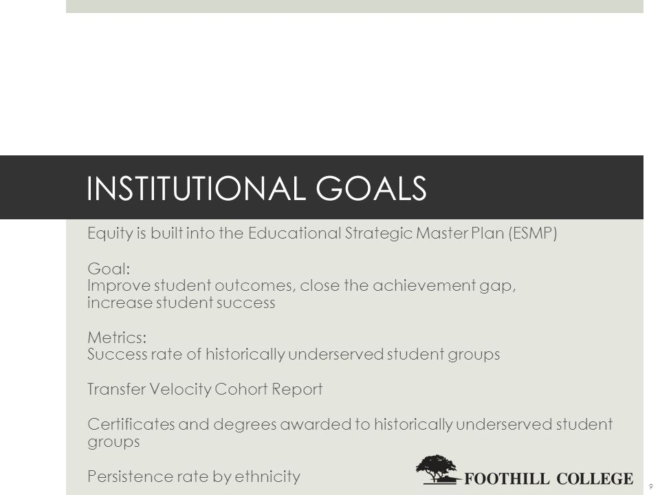 INSTITUTIONAL GOALS Equity is built into the Educational Strategic Master Plan (ESMP) Goal: Improve student outcomes, close the achievement gap, increase student success Metrics: Success rate of historically underserved student groups Transfer Velocity Cohort Report Certificates and degrees awarded to historically underserved student groups Persistence rate by ethnicity 9