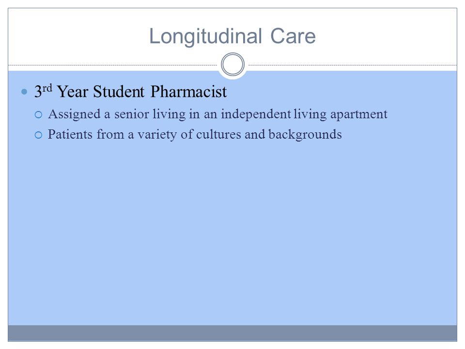 Longitudinal Care 3 rd Year Student Pharmacist  Assigned a senior living in an independent living apartment  Patients from a variety of cultures and backgrounds
