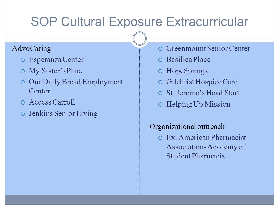 SOP Cultural Exposure Extracurricular AdvoCaring  Esperanza Center  My Sister's Place  Our Daily Bread Employment Center  Access Carroll  Jenkins Senior Living  Greenmount Senior Center  Basilica Place  HopeSprings  Gilchrist Hospice Care  St.