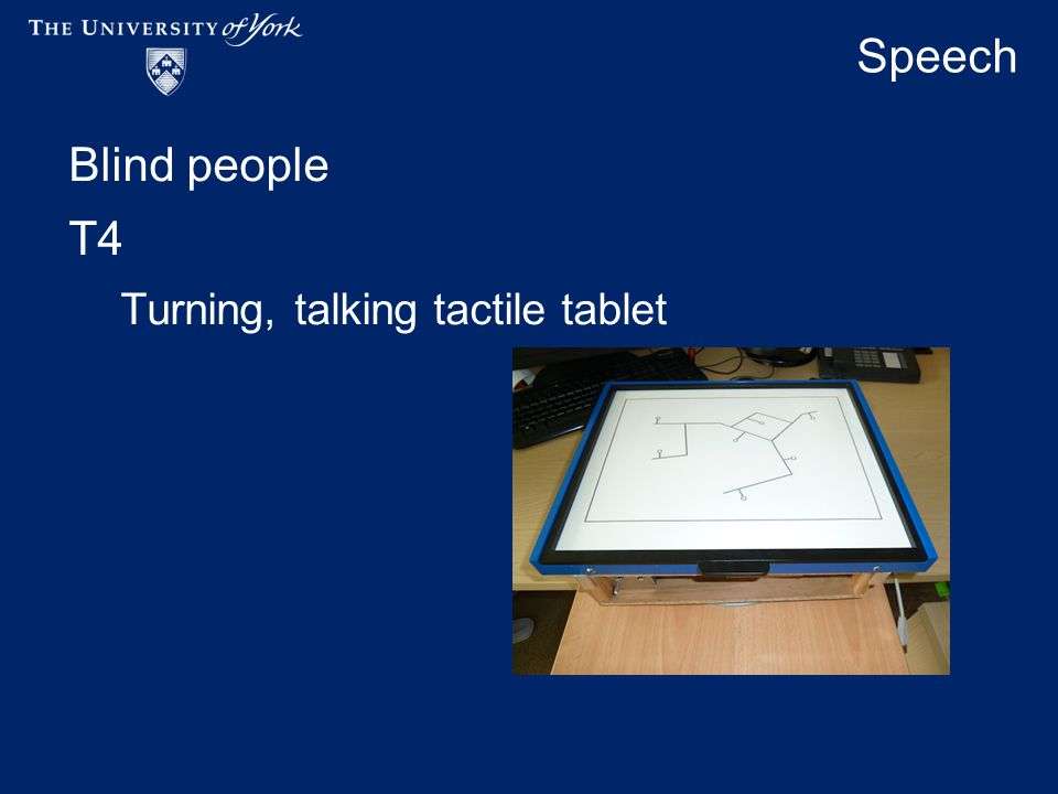 Speech Blind people T4 Turning, talking tactile tablet