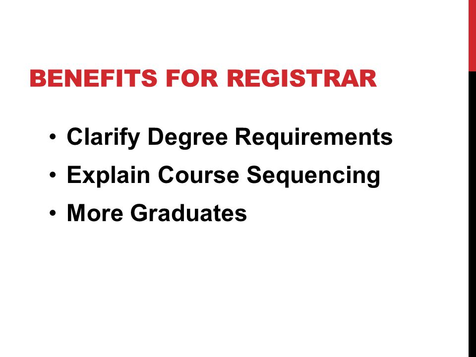 BENEFITS FOR REGISTRAR Clarify Degree Requirements Explain Course Sequencing More Graduates