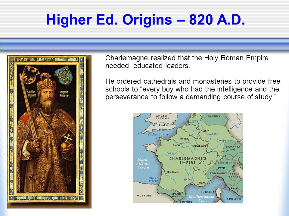 Higher Ed. Origins – 820 A.D.