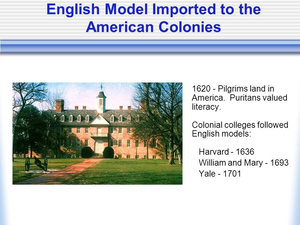 English Model Imported to the American Colonies 1620 - Pilgrims land in America.
