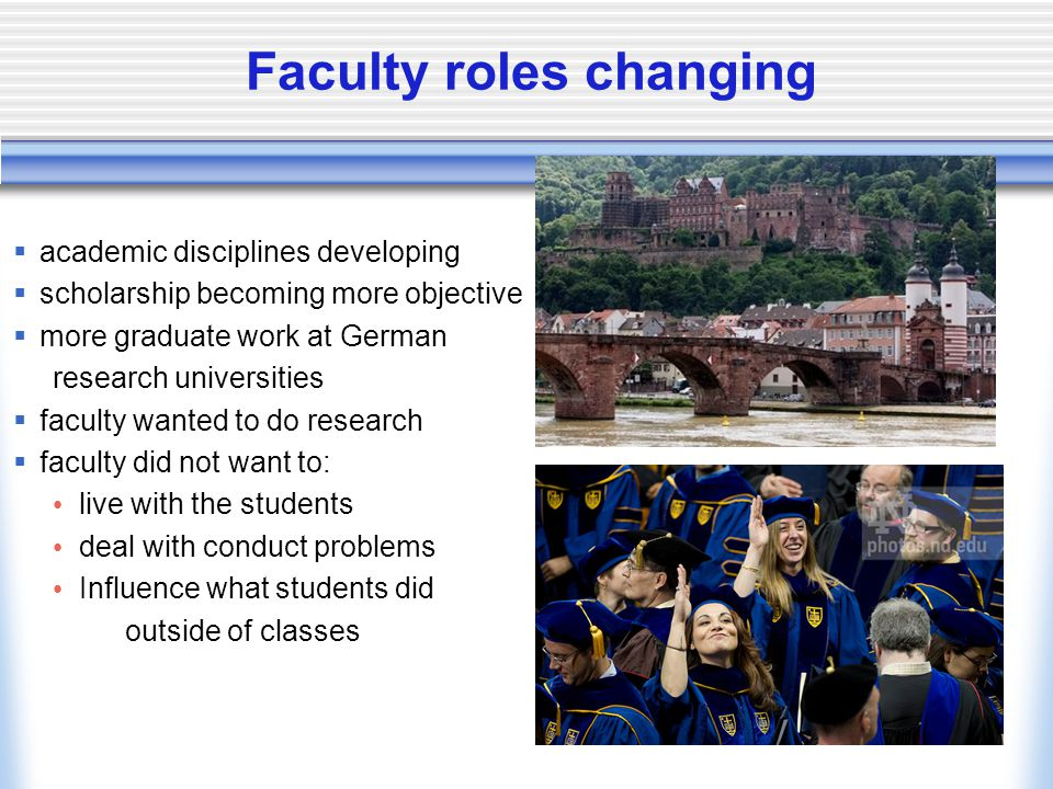Faculty roles changing  academic disciplines developing  scholarship becoming more objective  more graduate work at German research universities  faculty wanted to do research  faculty did not want to: live with the students deal with conduct problems Influence what students did outside of classes