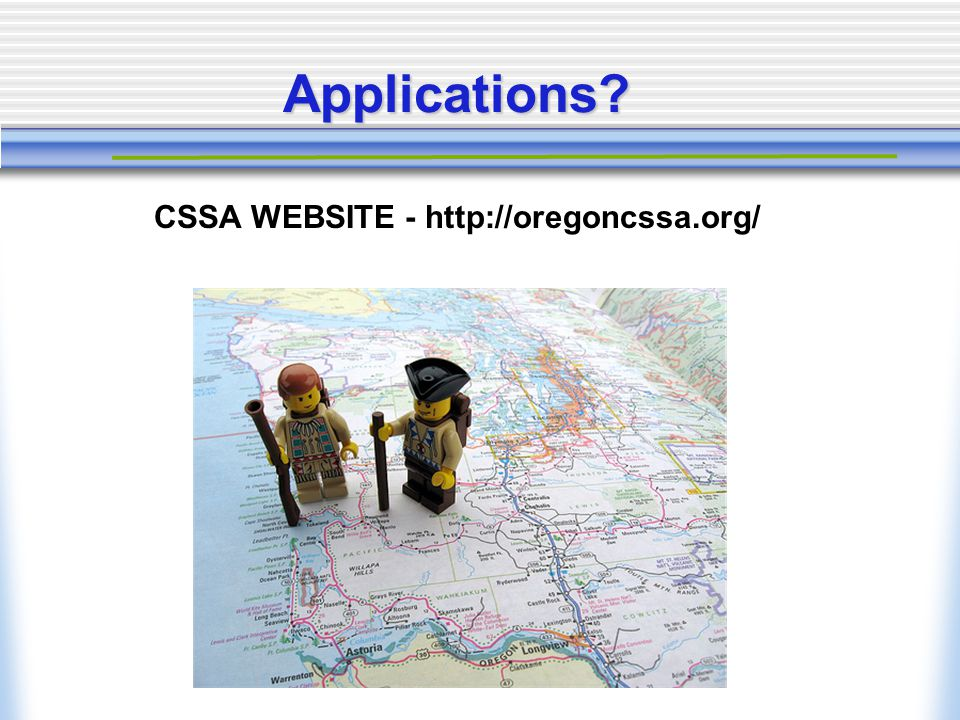 Applications CSSA WEBSITE - http://oregoncssa.org/