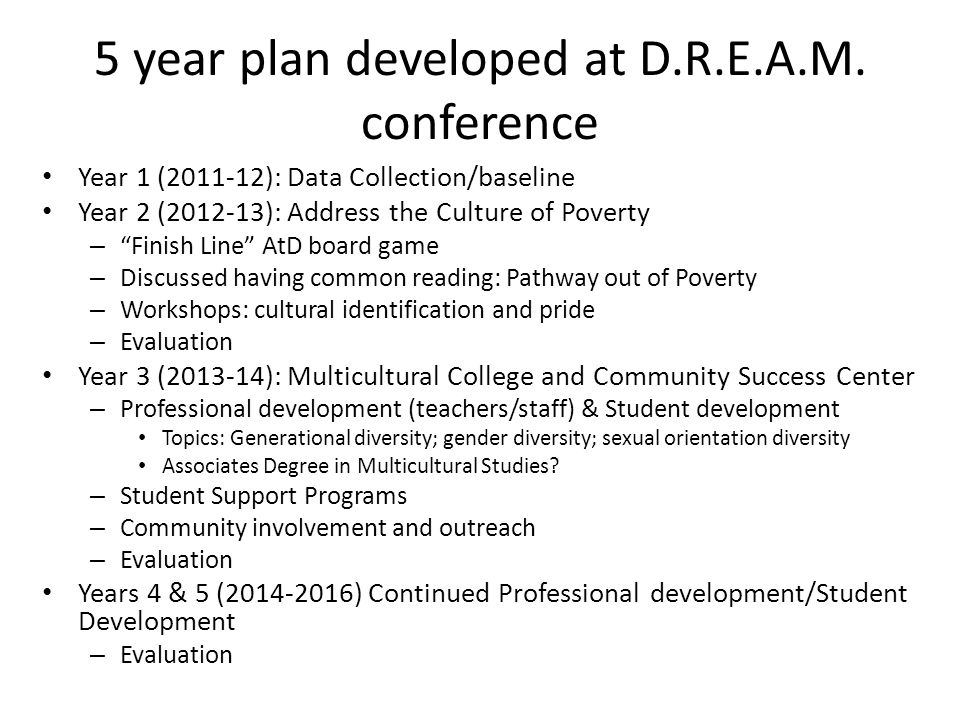 5 year plan developed at D.R.E.A.M.